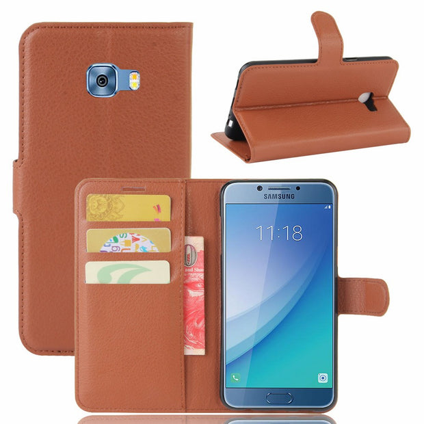 50pcs/lot Free Shipping Litchi Grain Wallet Leather Case For Samsung J5 2017/j7 2017/Xcover 4 G390F/C5 Pro