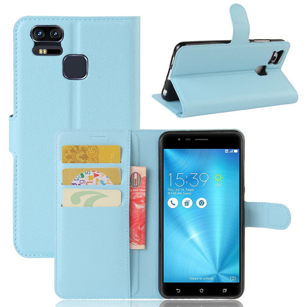 50pcs/lot Free Shipping Litchi Grain Wallet Leather Case For Asus ZenFone GO ZB500KL/3 Zoom ZE553KL/3s Max ZC521TL/AR ZS571KL