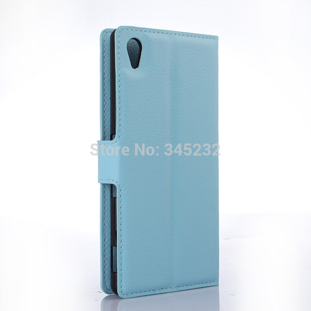 50pcs/lot Free Shipping Litchi Grain Wallet Leather Case For Sony XA1 Z6/Z3 Compact/Z4 Compact/Z4/Z5/Z5 Compact/Z5 Premium/E5