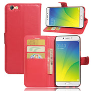 50pcs/lot Free Shipping Litchi Grain Wallet Leather Cover Case Stand With Card Holder For Oppo F3 /A77