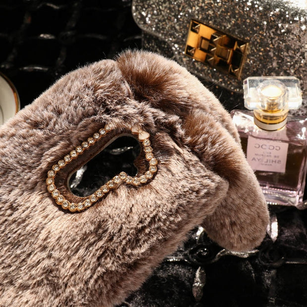 AKABEILA Cases For Doogee X60L Case Slicone Glitter Rabbit Fur Covers For Doogee X60LCovers Fundas Coque Back Housing Capa Shell