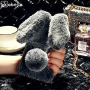 AKABEILA Cases For Doogee X70 Case Slicone Glitter Rabbit Fur Covers For Doogee X70 Covers Fundas Coque Skin Housing Bag Capa