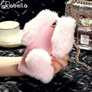 AKABEILA Cases For Huawei Y6 2018 Case Silicone Rabbit Fur Cover For Huawei Y6 2018 ATU-L21 ATU-L22 ATU-LX3 Covers Coque Fundas