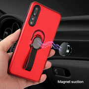 Adsorption Magnetic Car Holder Case Soft Hard Hybrid Cover Kickstand Holder Cover For Huawei P20 Pro