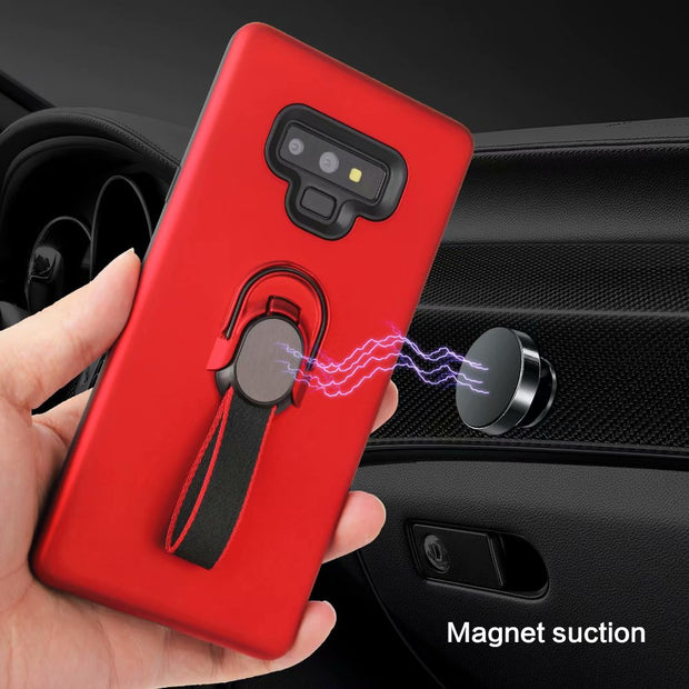 Adsorption Magnetic Car Holder Case Soft Hard Hybrid Cover Kickstand Holder Cover For Samsung Galaxy Note 9