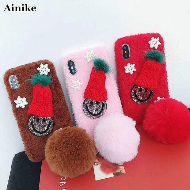 Ainike Christmas Santa Claus Hat Soft Warm Fur Ball Back Case Cover For IPhone Xs 6 6s Plus 7 7Plus 8plus XR XS MAX Smile Face