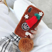 Ainike Christmas Santa Claus Hat Soft Warm Fur Ball Plush Back Case Cover For OPPO R9 R9s R11Plus R11s R9Plus A57 A59 Smile Face
