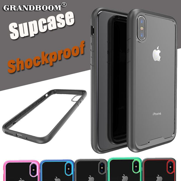 sports shoes 0817d e5d8f Anti-Knock Transparent Clear Hard PC Black Phone Cases For IPhone X  Shockproof Soft TPU Silicone Rubber Bumper Cover Case 100pcs