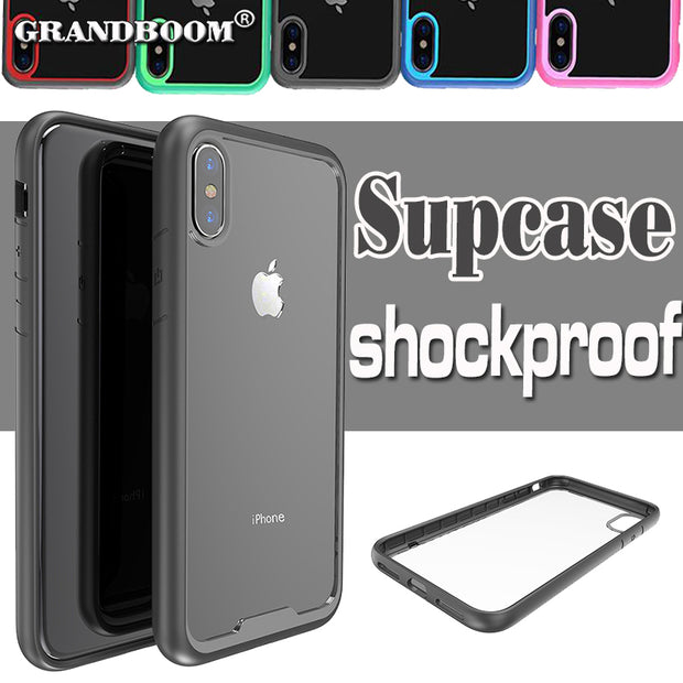 wholesale dealer 07123 d02ed Anti-Knock Transparent Clear Hard PC Black Phone Cases For IPhone X  Shockproof Soft TPU Silicone Rubber Bumper Cover Case 10pcs