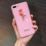 Apple8X Mobile Shell All-Inclusive Jelly Acrylic 6splus Chicken Rhinestone 7plus Flamingo