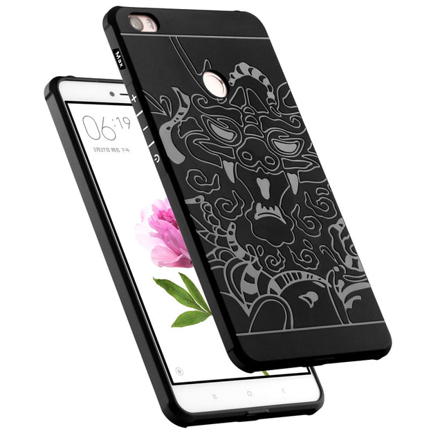 Armor Anti Hit Shock Proof Silicone Case For Xiaomi Max 6.44 Inch 3D Curved Dragon Drop Resistance Soft Rubber Cover Coque Funda