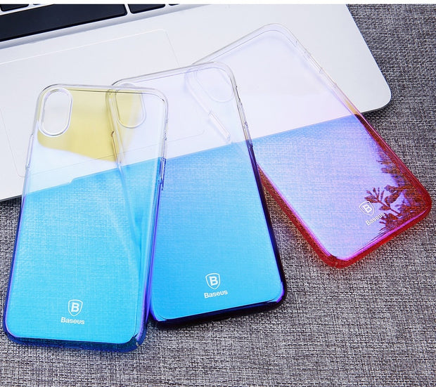Baseus PC Case For IPhone X Ultra Slim PC Protective Case Back Cover Gradient Color For IPhone X