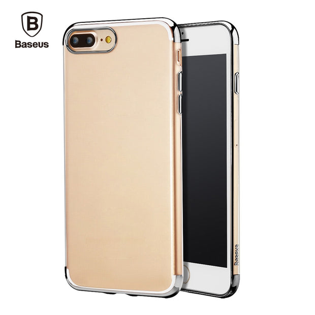 Baseus Shining Series Ultra Slim Electroplate Plating TPU Soft Clear Protective Skin For IPhone 7 Plus