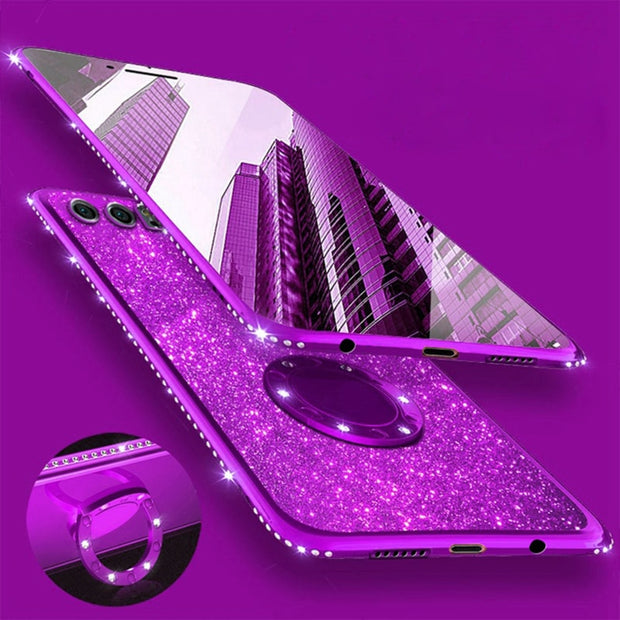 Bling TPU Case For Huawei Honor 9 Nova 2s 3 3i Cover Diamond Glitter Metal Ring Magnetic Car Holder Capa For Huawei Mate 10 Lite