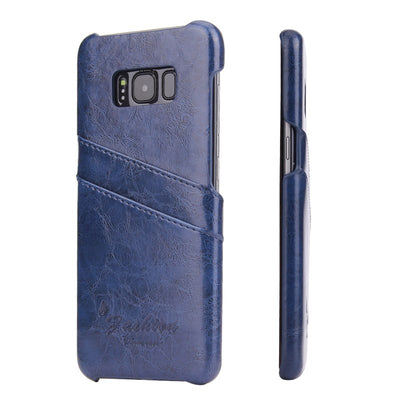 (Blue) Fierre Shann Brand PU Leather Case For Samsung Galaxy S8 Oil Wax Pattern With Card Pocket Ultra Thin Back Cover (D0248)