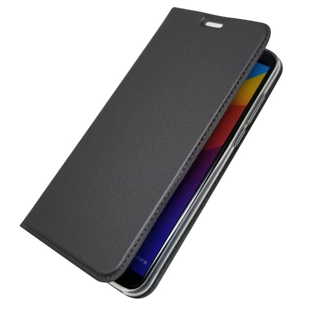 Bosilang Magnetic Stand Glossy Leather Simple Business Mobile Phone Casing Cover For Huawei Honor7c Super Thin Anti-dorp Leathe