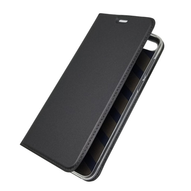 Bosilang Y9 2018 Magnetic Stand Glossy Leather Simple Business Super Thin Anti-dorp Mobile Phone Casing Cover For Huawei Y9 2018
