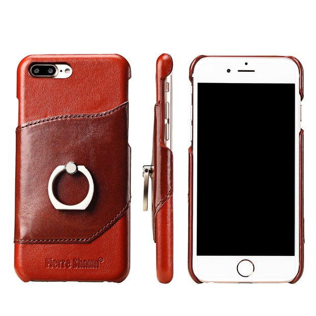 Brown Fierre Shann For IPhone 8 Plus Case Real Leather Cases For IPhone 7/8Plus Case Card Solt Finger Ring Ultra Thin Back Cover