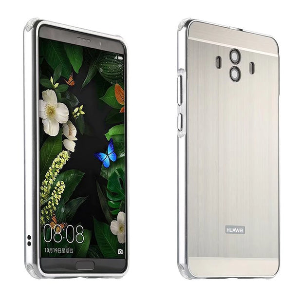 Brushed Plating Metal Aluminum Bumper+PC Acrylic 2 In 1 Hybrid Case Cover For Huawei P10 PLUS P10 P9 LITE MATE 10 LITE PRO