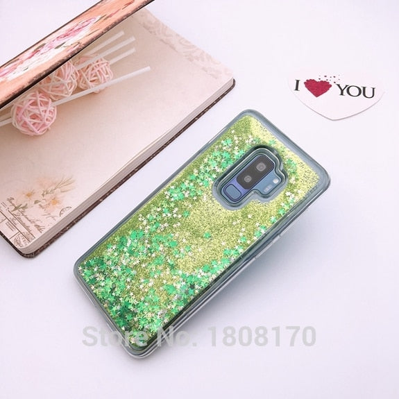 C-Ku Liquid Quicksand Star Soft TPU Case For Samsung Galaxy S9 Plus NOTE8 Shiny Bling Dynamic Cell Phone Skin Cover 10pcs