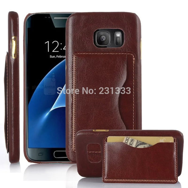 C-ku Luxury Hybrid PU Leather PC With Stand Credit ID Card Slot Case For Samsung Galaxy S7 Edge Holderl Phone Cover Skin 50pcs