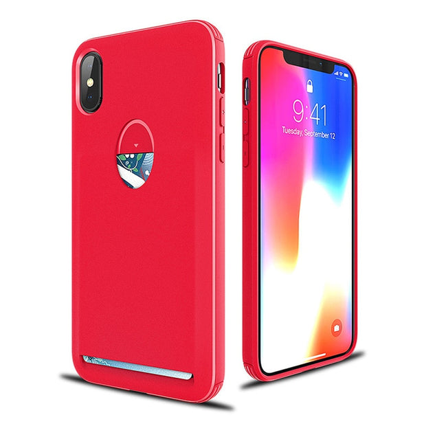 Candy Soft TPU Cases For IPhone X With Card Slot Holder Ultra Thin Design Gel Case Back Shell Cover&Package Box Fast Shipping
