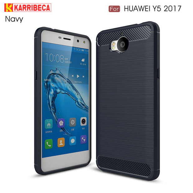 Carbon Fiber Silicon Case For Huawei Y5 2017 Funda Y6 2017 Hoesje Rugged Brushed Tpu Cover Y5 Iii/3 Coque Etui Husa Tok Kryt