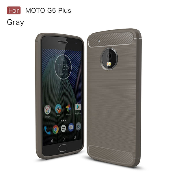 Carbon Fiber Silicone Case For Moto G5 Plus Capa Brushed Shockproof Armor Tpu Cover XT1687 Fundas Etui Kryty Tok Husa Coque Skal