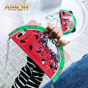 Cartoon 3D Watermelon Liquid Quicksand Flare Star Sequins Glitter Silicone Case For IPhone X 6 6s Plus 7 8 Plus Back Cover Case