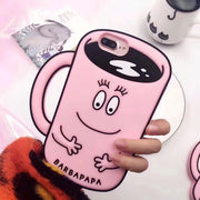 Cartoon Cute Barbapapa Cup Silicone Soft Case For Iphone X Shockproof Full Cover Back Cover For Iphone 7 8 6 6S Plus Capa Coque