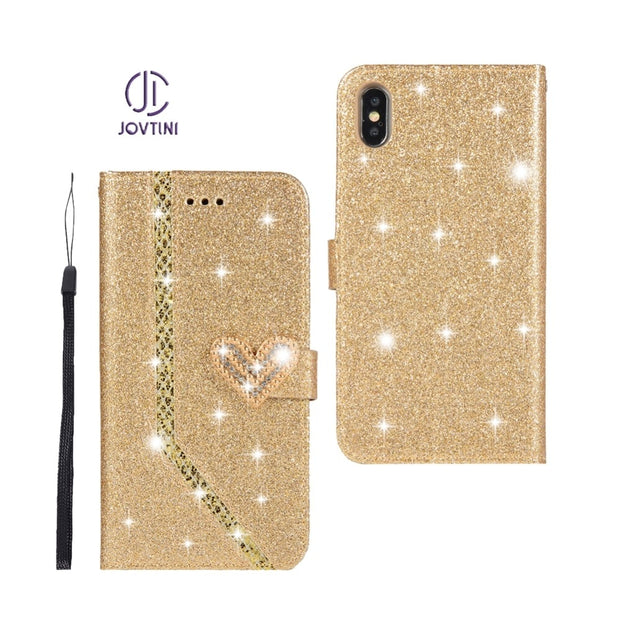 Case For Apple IPhone XS Max Luxury Love Heart Magnetic Buckle Shining Leather Flip Wallet Phone Cover For IPhone XS Max Case