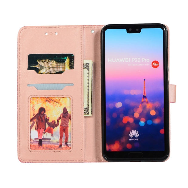 Case For Huawei P20 Lite P20 Pro P20 P10 Lite P9 Lite Love Heart Magnetic Buckle Shining Leather Flip Wallet Phone Cover Case