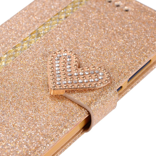Case For Huawei P8 Lite 2017 Love Heart Magnetic Buckle Shining Leather Flip Wallet Phone Cover For Huawei P8 Lite 2017 Case