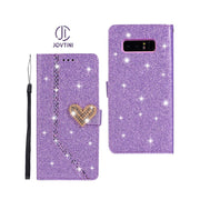 Case For Samsung Galaxy Note 8 Note 9 Love Heart Magnetic Buckle Shining Leather Flip Wallet Phone Cover For Samsung Note8 Case