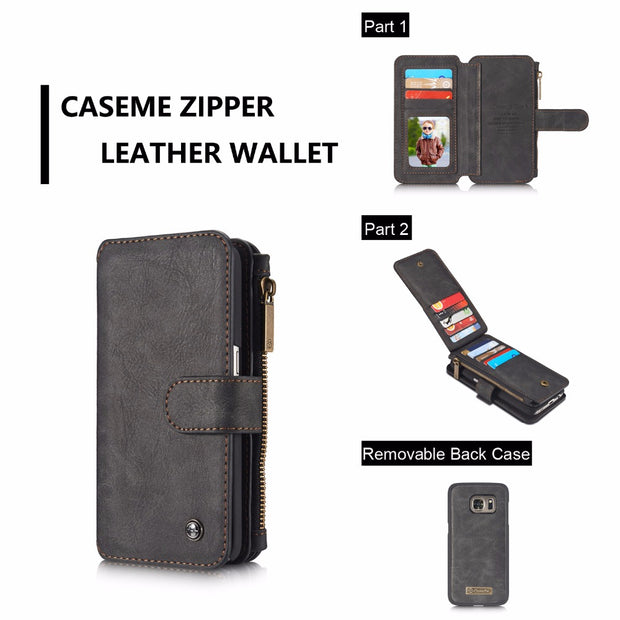 CaseMe Genuine Leather Wallet Case For Samsung Galaxy S6/s7 Edge S8/s9 Plus Card Holder Flip Stand Case Galaxy Note 5/8/9 Cover