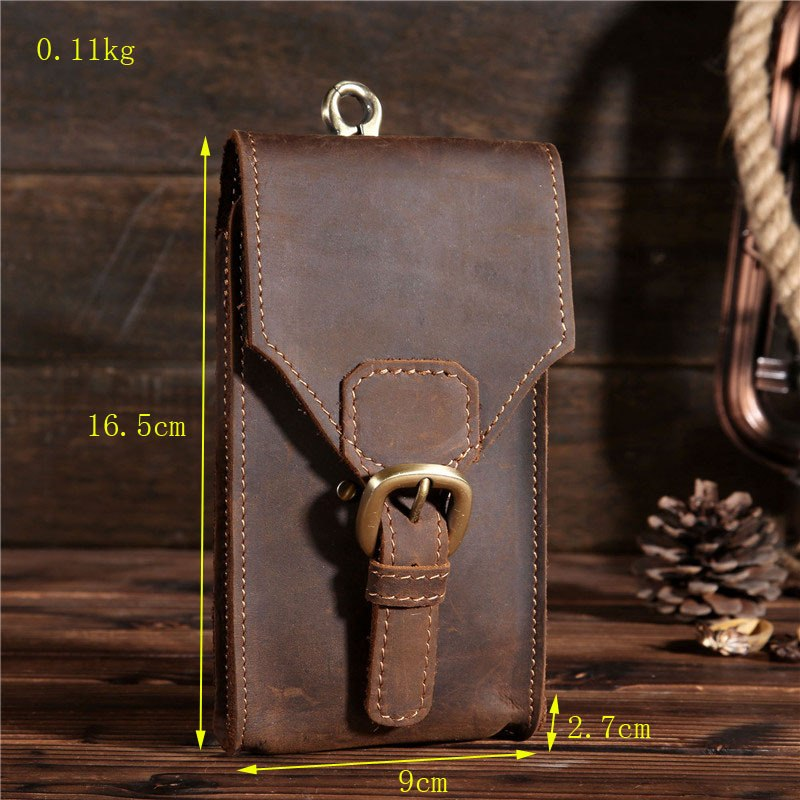 Caterpillar Cat S48c Genuine Leather Mobile Phone Cover Case Pocket Hip  Belt Pack Waist Bag Father Gift FOR Xiaomi Redmi Note 7