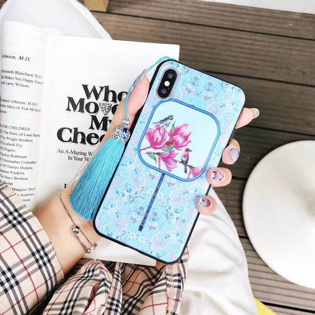 Chinese Flower Fan 3D Emboss Cartoon Patterned Phone Case For Iphone X 6s 8 7 Plus Cases Soft Silicone Cover For IPhone XS XR