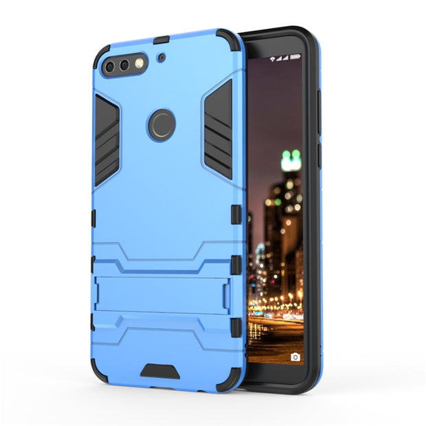 Coque Case On For Huawei Honor 7C Case For Huawei Honor7c Cover Phone Hard Armor Silicone Stand Blue Luxury Plastic