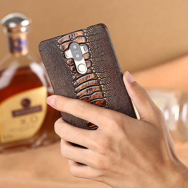 Cowhide Ostrich Foot Texture Phone Case For Huawei P20 Lite Custom Made Phone Case Genuine Leather Phone Protection Case