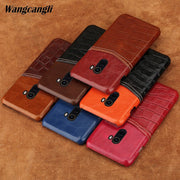 Crocodile Pattern And Wax Leather Mixed Color Half Pack Case For Xiaomi 8 Phone Case Protection Cover For Xiaomi&redmi Series