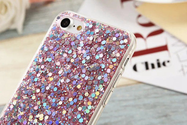 Crystal Bling Glitter Soft TPU Case For Iphone 8/7/Plus/6 6S/Plus Silicon Diamond Sequin Powder Luxury Cover Skin 100PC