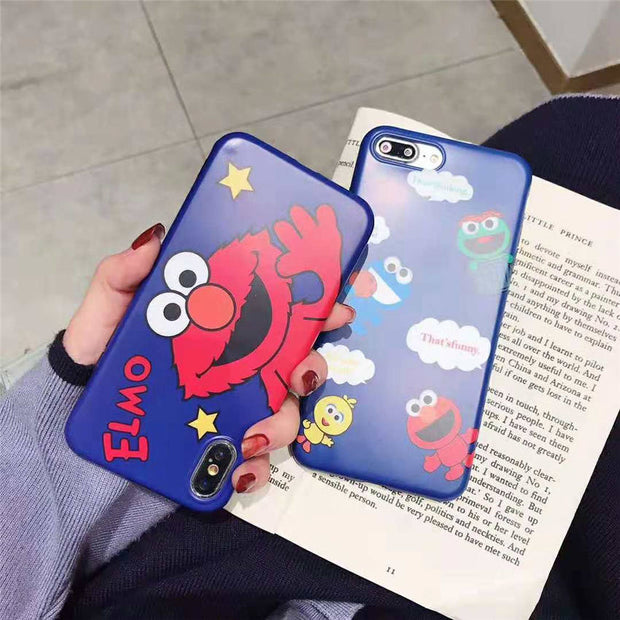 Cute Blue Sky Sesame Street Elmo Cartoons Pattern Matte Phone Full Cases IMD Covers For IPhone XR XS MAX 6s 7 8 Plus Fundas Capa
