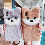Cute Cartoon Gray Bear Plush Phone Case For Iphone XR X XS Max Case For Iphone 6 6S 8 7 Plus Soft Cover Fashion Warm Fuzzy Cases