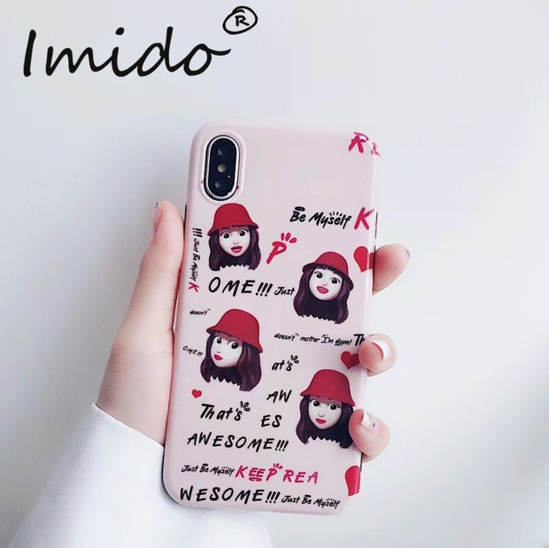 Cute Girl Heart Design Phone Case For IPhone X XS XR XS MAX TPU Silicone Pink&Red Back Covers For IPhone 6 6S 7 8 Plus