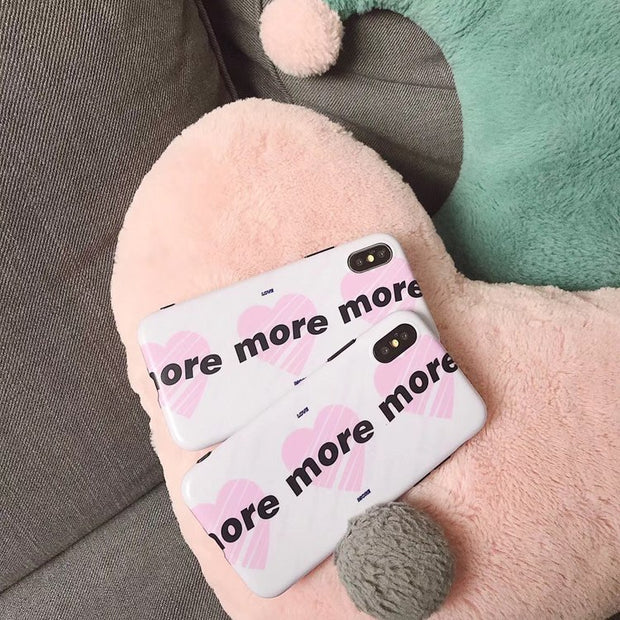 Cute Phone Case For IPhone 6 6S 7 8 Plus X Case More Love Heart Pattern Soft Cover Case Fundas