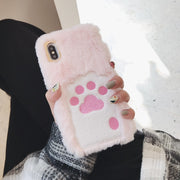 Cute Pink Plush 3D Embroidery Cat Claw Furry Warm Hand Soft Back Cover Case For Iphone 6 7 Plus X XR XS MAX Fashion Phone Cases