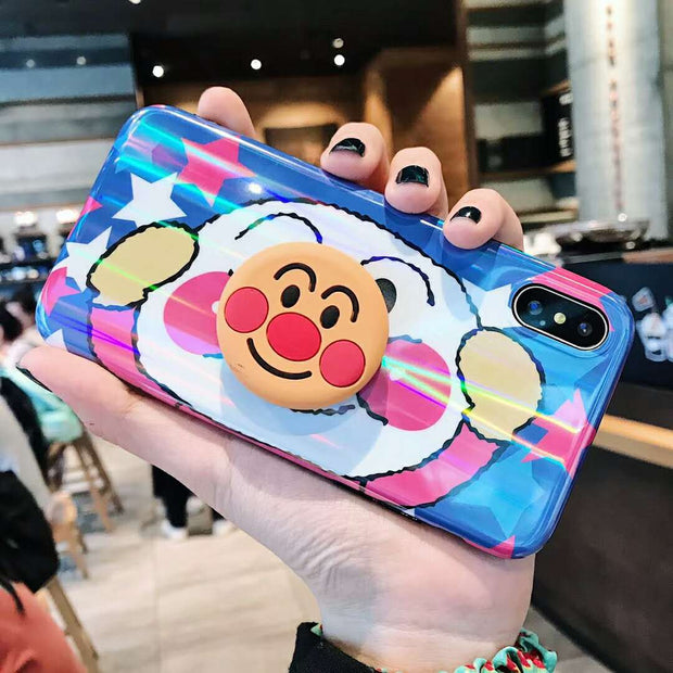 Cute Anime Aurora Cartoon IMD Cases For IPhone 6 6s 7 8 Plus X Anpanman Airbag Bracket Soft Silicon Phone Back Cover Case