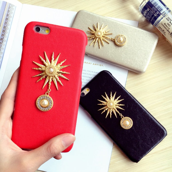 Dower Me Hot Luxury Fashion Retro Pearl Metal Sun PU Leather Phone Case Cover For IPhone X 8 7 6 6S Plus 5 5S SE