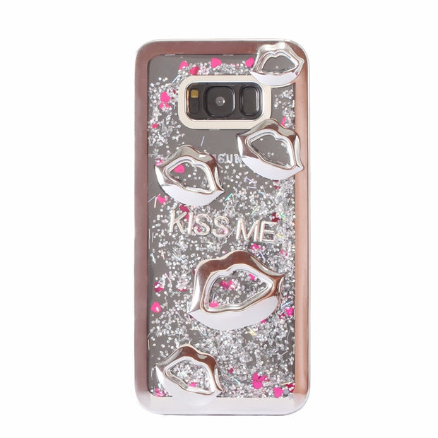 Electroplate Lips Dynamic Liquid Quicksand Phone Case For Samsung Galaxy S8 Plus S8 S9 S9 Plus Soft TPU Back Cases