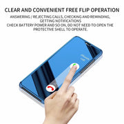 Electroplating Mirror Surface View Window Leather Support Wireless Charging Convenient Flip Operation Case For Huawei P20 Pro